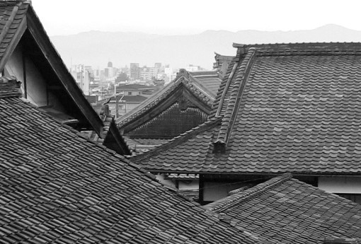 Roofline looking west from Kurodani Temple.  Kyoto.  2007.