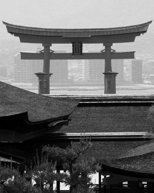 Looking over Itsukushima Shrine, through the Otorii.  Miyajima.  2008.