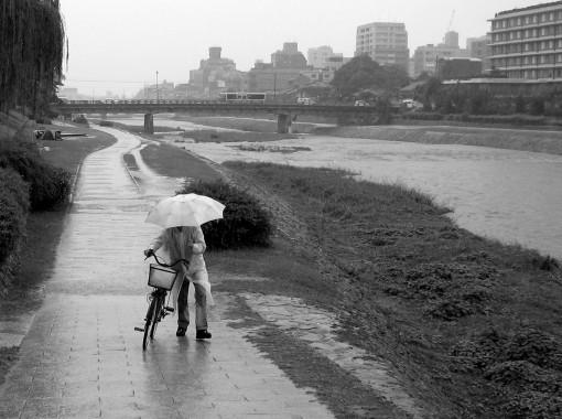 Soaked along the Kamo River.  Kyoto.  October 2007.