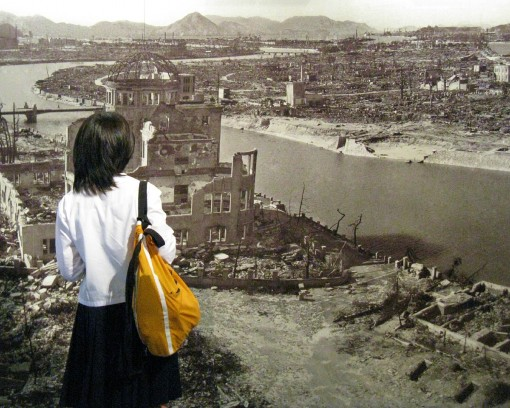Middle School Girl at Hiroshima Peach Park Museum, May 16, 2008.