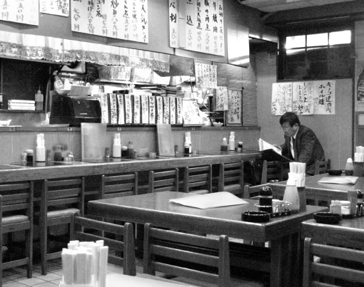 Izakaya, late afternoon before the evening rush.  Ueno, Tokyo. April 2008.