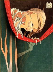 """The Ghost of Koheiji"".  Woodblock print.  Hokusai.  1830."