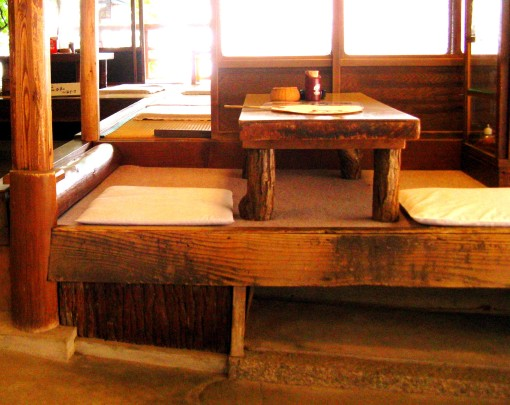Inside one of a few small, rustic restaurants situated along the path up Mt. Inari.