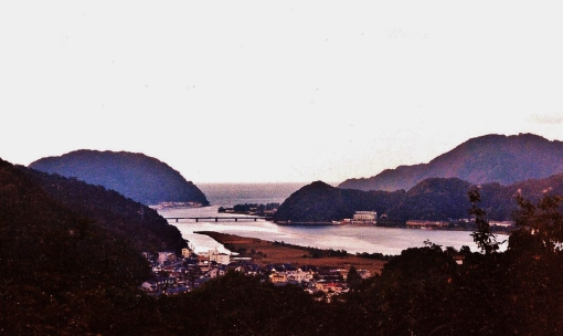 We hiked up this mountain, turned around and saw this view of Kinosaki. Oct 2001.