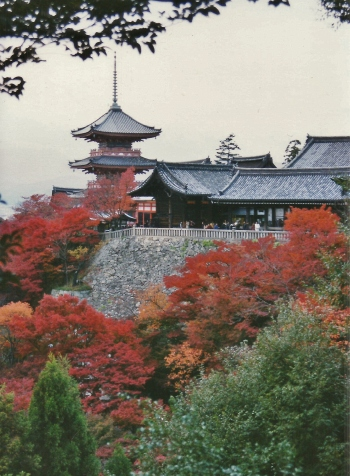 One of the more popular places from which to photograph Kiyomizu-dera. Fall 2001.